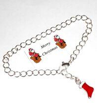 Cute Red CHRISTMAS STOCKING Bracelet + Little Gift Card
