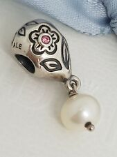 Authentic Pandora Retired Silver Pink CZ Pearl Bloom Dangle Charm 790546P