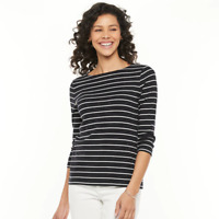 Petite Croft & Barrow Essential Striped Boatneck Top, Size PL, Retail $16.00