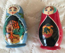 Set of 2 Russian Babushka Dolls Wooden / Unmarked / Fine Quality