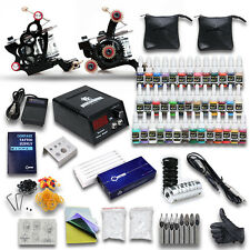 New Complete Tattoo Machine Kit 2 Gun Needles 40 Inks Power Supply Set