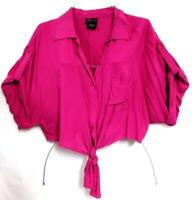 Torrid fuchsia plus size roll up sleeve knot front button down crop top 3, 3X