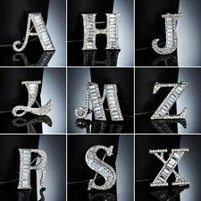 Men Women Alphabet Letter Crystal Rhinestone Initial Brooch Pin Wedding Jewelry