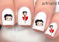 Betty Boop Cartoon Red Nail Art Water Decals Stickers Manicure Salon Polish Mani
