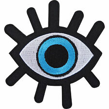 Evil Eye Embroidered Iron / Sew On Patch T Shirt Jeans Black Embroidery Badge