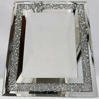 "Picture Photo Frame Sparkly Silver Mirrored Diamond Crush Crystal 5x7"" Photo"