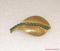 Leaf Design Goldtone Green Rhinestones Brooch Pin / Fashion Jewelry Estate