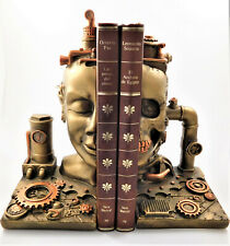 Steampunk 'Split Heads' Bookends Resin Statue Pair of Shelf Book Ends Figurine