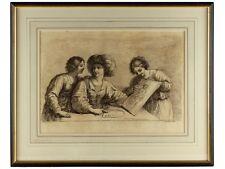 1764 Engraving Women Admiring Art by Bartolozzi after Guercino
