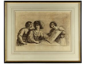 1764 Engraving Women Admiring Art by Bartolozzi after Guercino