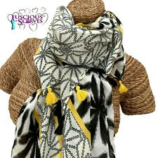 MUSTARD , WHITE & BLACK TASSEL SCARF  WITH A FLORAL PEARL DESIGN SUPERB QUALITY