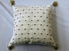 Woven Cream & Taupe Cushion Cover With Beaded Tassels 44 x 44cm