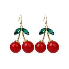 1 paire x boucles d'oreilles de pendantes en alliage de cerise rouge femmes U4X1