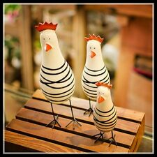 3 Pieces Chicken Figurines Modern Home Accessories  Wood Room  Decoration