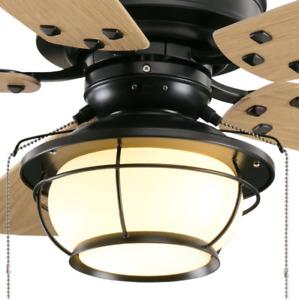 "Outdoor 46"" Sea Pine Ceiling Fan Nautical Lantern Cage Lamp Coastal Patio Light"