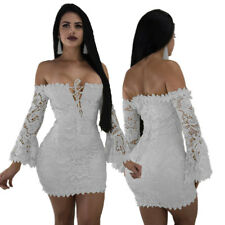 Women off shoulder lace up bodycon club party lace evening mini dress