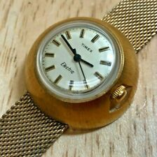 Vintage '72 Timex Electric Lady Gold Tone UFO Shape Mesh Watch Hours~New Battery
