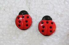 Red Lady Bug Stud Handmade Earrings