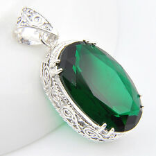 Christmas Jewelry Gift Oval Emerald Topaz Gems Antique Silver Necklace Pendants