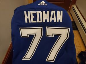 VICTOR HEDMAN TAMPA BAY LIGHTNING NAVY AUTHENTIC ADIDAS JERSEY SIZE 54 WITH A