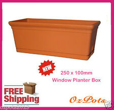 250mm Window Planter Box x 4 sets - Great for Herbs, indoor or Outdoor Plants