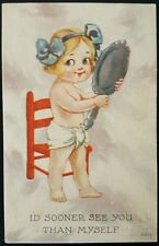 Vintage Wall Series 6503 Postcard Cute Baby Chair Hand Mirror Art
