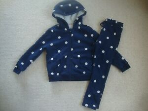M&S girl's navy spotty tracksuit 5-6 / 6-7 - hoodie and joggers