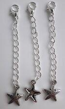 Extensor de color plata cadena con langosta broche y estrellas de mar encanto X 3