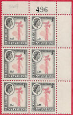 Rhodesia & Nyasaland 1959 1d block of 6 carmine-red & grey-black sg 19AB MNH