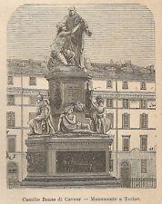 A9017 Torino - Monumento a Camillo Benso di Cavour - Xilografia Antica del 1906