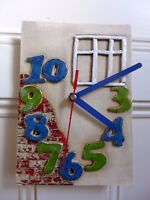 Ceramic Wall Clock Hand Made House Design Wall Art Unique Cottage Farm Home 0501