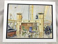 Originale Acquerello Pittura Cunard Vapore Nave Oceano Liner Queen Mary