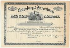 Gettysburg & Harrisburg Railroad Company Stock Certificate Pennsylvania