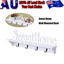 White Wood 4 Curved Hook Hat Scarf Holder Wall Mounted Clothes Hanger Coat Rack