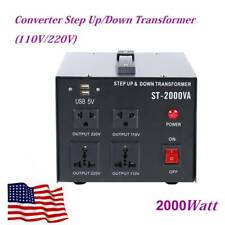 2000W 110V To 220V Voltage Converter Transformer Heavy Duty Step Up/Down