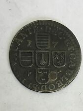 Antique 1744 Liege Liard Copper Coin Drilled
