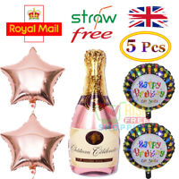 Rose Gold Champagne Bottle Foil Helium Balloon Engagement / Birthday Party Decor