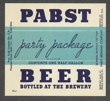 New York Pabst Party Package beer bottle label, IRTP, Milwaukee WI, 64 oz.