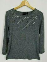 Rafaella Women's Medium Black Gray Embellished 3/4 Sleeve Knit Top