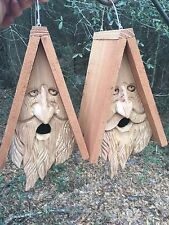 2 Hand Carved Wood Spirit Old Man Face Cedar Birdhouses