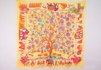 "HERMES Carre 90 Large Format Scarf Silk 100% ""fantaisies indiennes"" Yellow 3626k"