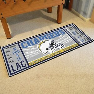 """Los Angeles Chargers 30"""" X 72"""" Ticket Runner Area Rug Floor Mat NFL FANMATS"""