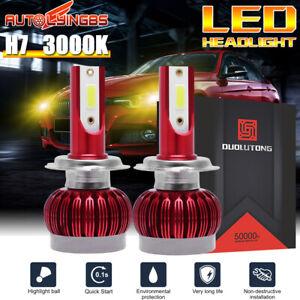 2PCS H7 COB LED Headlight Bulb Mini Hi-Lo Beam Front Light 3000K Yellow Light