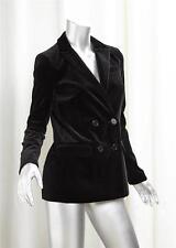 GERARD DAREL Womens Black Velvet Double Breasted Blazer Jacket Coat 34/2 NEW