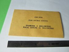 OPTICAL DOUBLE CONVEX  LENS 8 mm DIAMETER FL 52 mm LASER OPTICS BIN#34