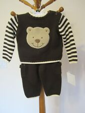 NEW Dylan & Abby Two-Piece Teddy Bear 3/6 months Sweater outfit Brown & Cream