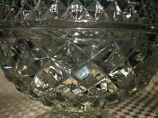 """Vintage ANCHOR HOCKING Wexford 7"""" pressed glass diamond footed bowl  compote GVC"""