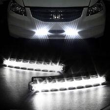 2pcs X White 12V 8 LED Daytime Running Light DRL Car Fog Day Driving Lamp Lights
