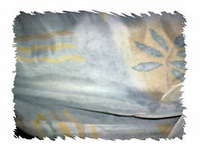 """SHEER SUEDE alike FABRIC 60"""" x 54"""" PRINTED LIGHT BLUE YELLOW Upholst Drapes Sew."""