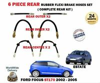 FOR FORD FOCUS ST170 2.0 2002-2005 6 PIECE REAR RUBBER FLEXI RUBBER BRAKE HOSES